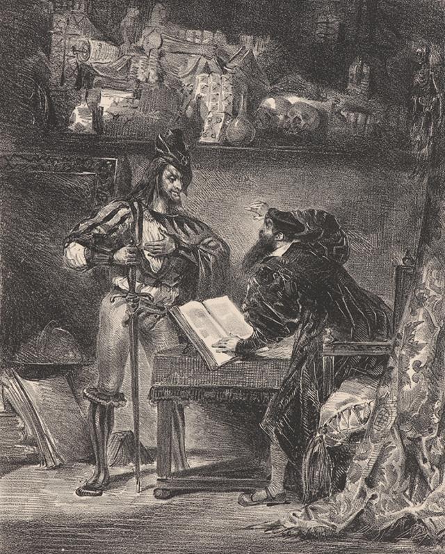 """Эжен Делакруа. Мефистофель явился к Фаусту (по Гете «Фауст"""") 1828"""