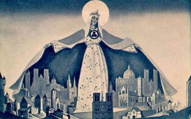 Николай Рерих. Мадонна Защитница (Святая Покровительница). 1933