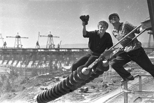Строительство Братской ГЭС. 1962