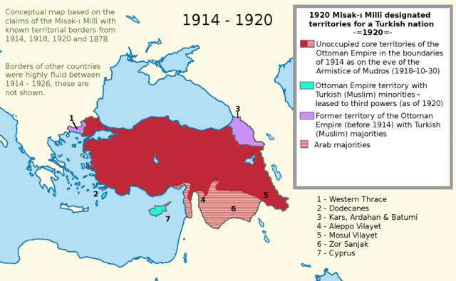 Границы Турции в соответствии с Misak-i Milli