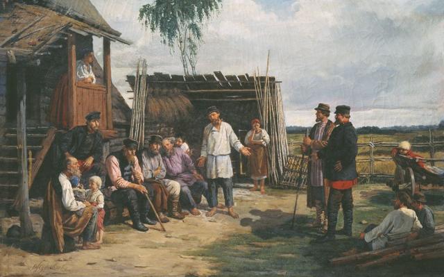 Фирс Журавлёв. Крестьянская сходка. 1870-е