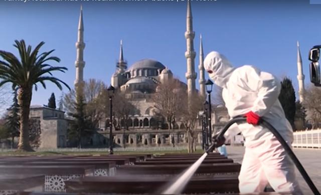 Обработка улиц. Коронавирус в Стамбуле