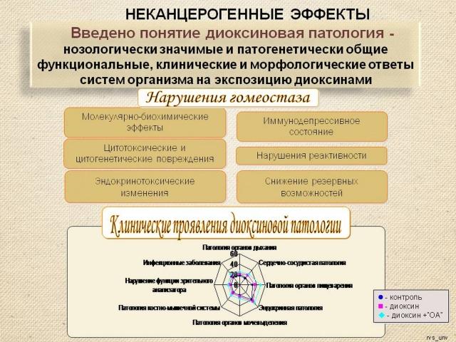 Рис. 16. Неканцерогенные проявления диоксиновой патологии