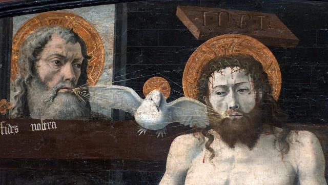 Исхождение Св. Духа от Бога-Отца и Сына, согласно Filioque. Неизвестный прованский художник (сер. XV века)