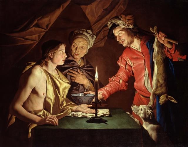 Маттиас Стомер. Исав продает право первородства за чечевичную похлебку. 1599