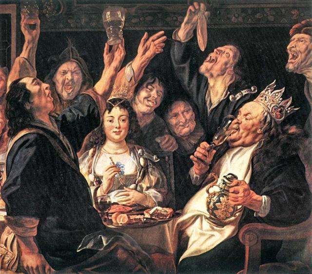Пир во время чумы. Якоб Йорданс. Праздник бобового короля. 1645