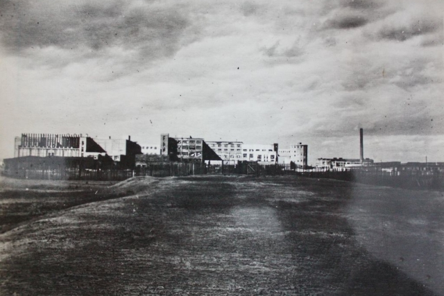 Строительство Орского мясокомбината. Оренбург. Оренбургская область. 1944