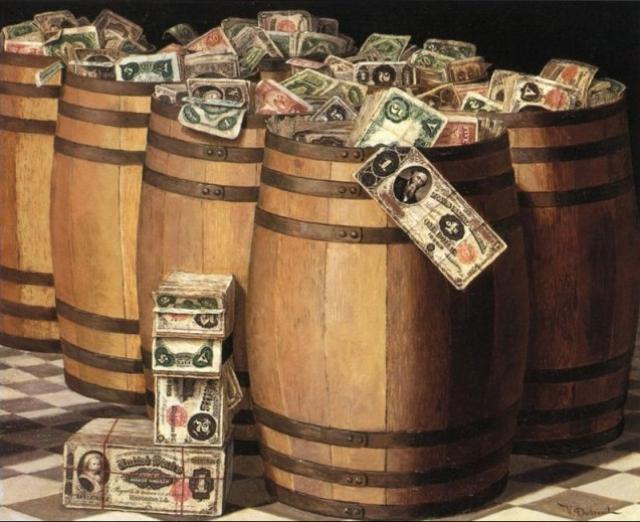 Бочки с деньгами