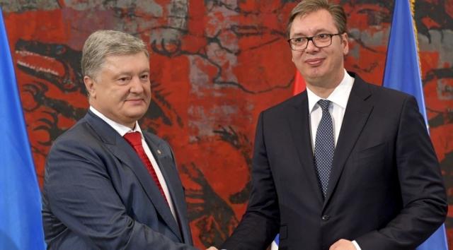 Бывший президент Украины Петр Порошенко и президент Сербии Александр Вучич