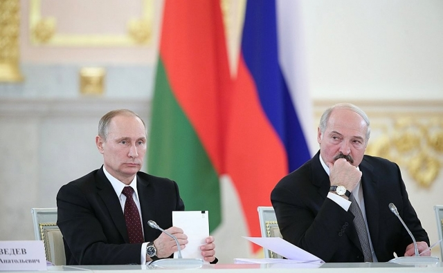 Владимир Путин и Александр Лукашенко  на заседании Высшего Государственного Совета Союзного государства