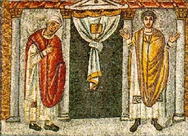 Равеннская мозаика «Мытарь и Фарисей». V век