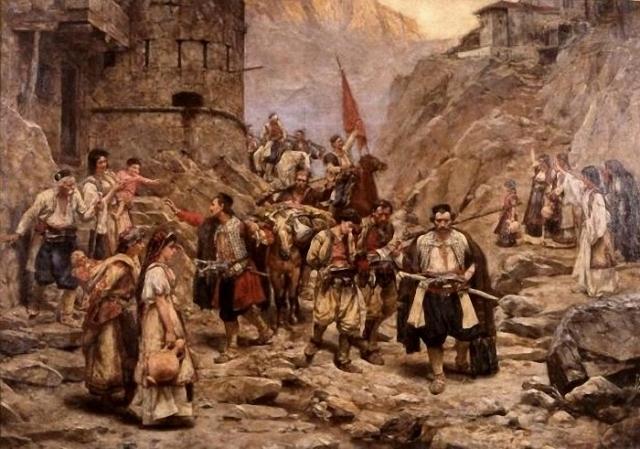 Павле Йованович. Возвращение черногорцев после боя. 1888