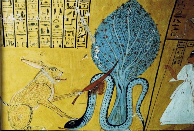 Ра (слева) в образе рыжего кота поражает Апопа (справа)