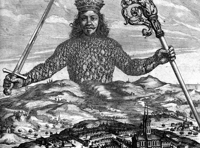Титульный лист (фрагмент). Левиафан, или Материя, форма и власть государства церковного и гражданского. 1651
