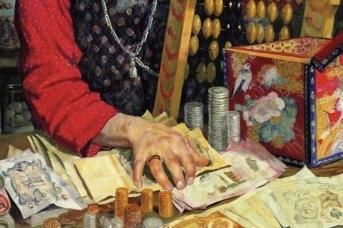 Фрагмент картины Кустодиева «Купец, считающий деньги», 1918 г