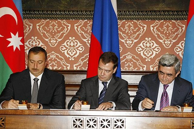 Президенты Азербайджана, России и Армении подписывают декларацию по Нагорному Карабаху. 2008