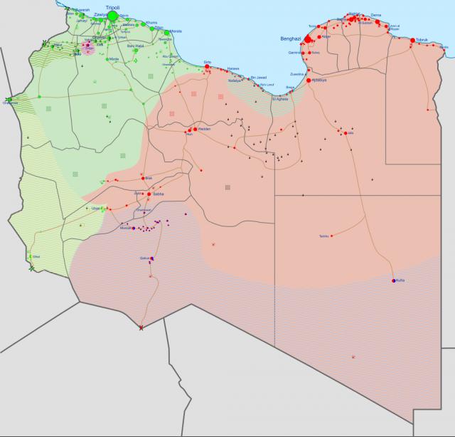 Карта гражданской войны в Ливии. Зеленым выделена территория контролируемая Правительством национального согласия. Красным выделена территория контролируемая Ливийской национальной армией и ее союзниками