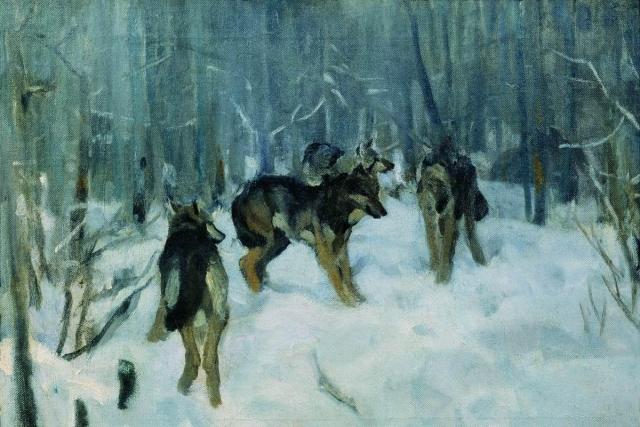 Александр Степанов. Волки в зимнем лесу. 1900–1910