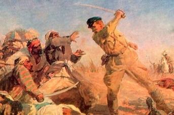 М. В. Мальцев, А. И. Сологуб. Иван Поскребко в бою с бандой басмачей в 1931 году. 1950