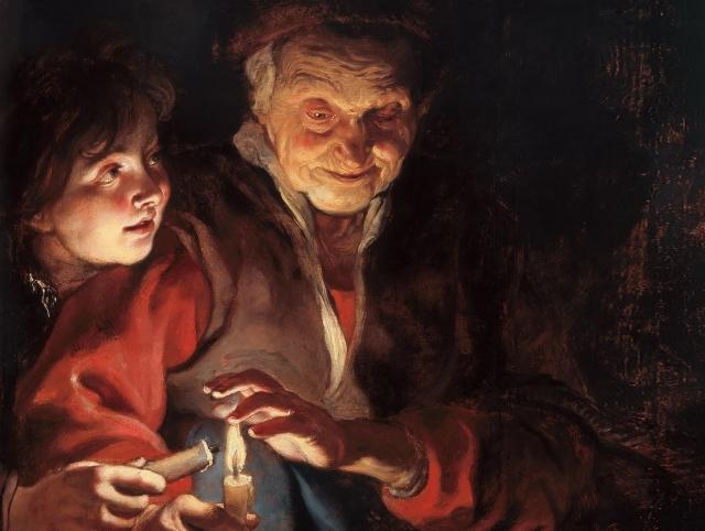 Питер Пауль Рубенс. Старушка и мальчик со свечами (фрагмент)