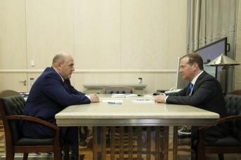 Премьер-министр РФ Михаил Мишустин и председатель партии «Единая Россия» Дмитрий Медведев