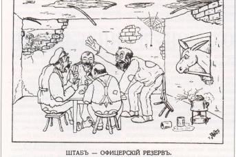 Карикатура белых офицеров на самих себя в эмиграции. о. Лемнос, 1921