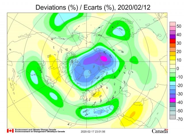 Рис. 19. Аномалия озона в атмосфере 12 февраля 2020 г. над очагом землетрясения магнитудой 4,0 на полуострове Таймыр. На острове Диксон отклонение температуры от нормы 13 февраля составило 22,4⁰