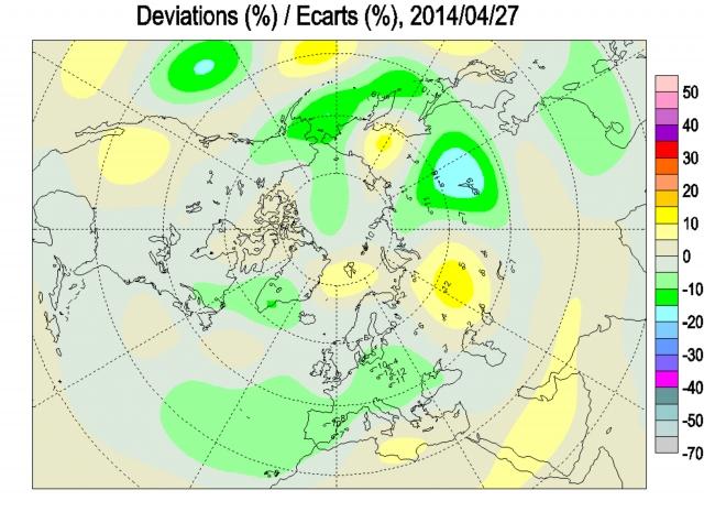 Рис. 17. Дефицит озона в атмосфере над районом озера Байкал 27 апреля 2014 г