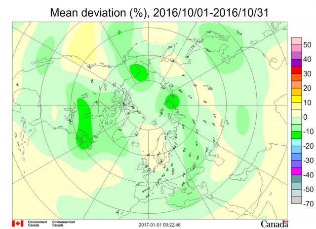 Рис. 22. Дефицит общего содержания озона в атмосфере над полуостровом Таймыр во время аномально теплого октября 2016 г