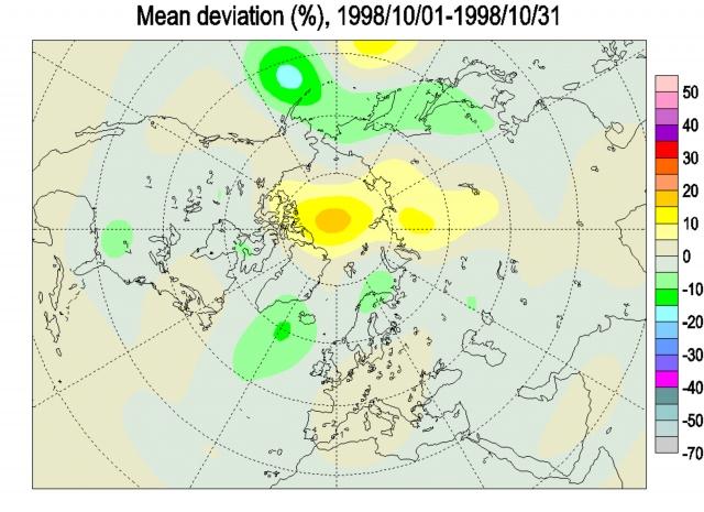 Рис. 23. Избыток общего содержания озона в атмосфере над полуостровом Таймыр во время аномально холодного октября 1998 г., когда на территории с координатами 60–86° с. ш., 80–120° в. д. не было зафиксировано ни одного землетрясения