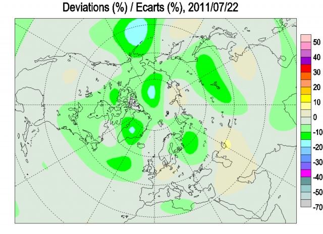 Рис. 24. Аномалия общего содержания озона 22 июля 2011 г. в районе Алеутской дуги. Через три дня температура воздуха на острове Адак достигла 12,2 °С