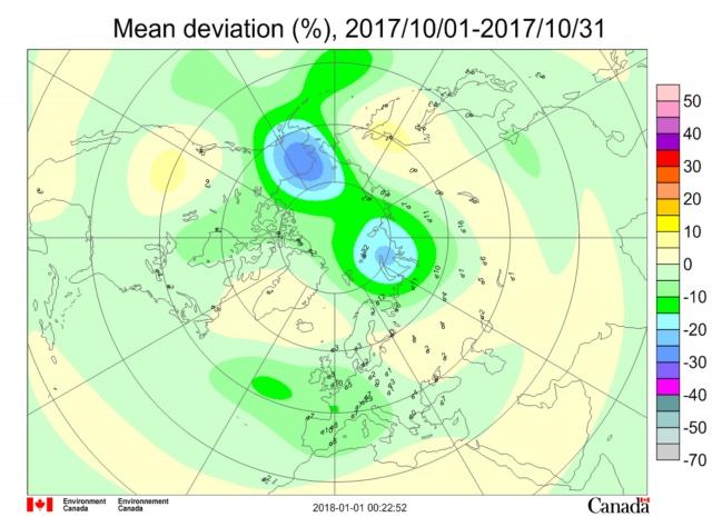 Рис. 28. Месячная аномалия озона в октябре 2017 г. на долготе Берингова пролива