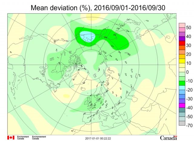 Рис. 27. Месячная аномалия озона в сентябре 2016 г. на долготе Берингова пролива