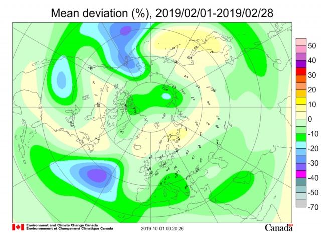 Рис. 30. Месячная аномалия озона в феврале 2019 г. на долготе Берингова пролива