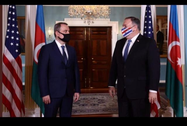 Министр иностранных дел Азербайджанской Республики Джейхун Байрамов встретился с госсекретарем США Майком Помпео 23 октября 2020