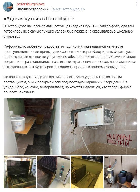 СМИ: школьники в Петербурге получали еду, приготовленную в антисанитарии