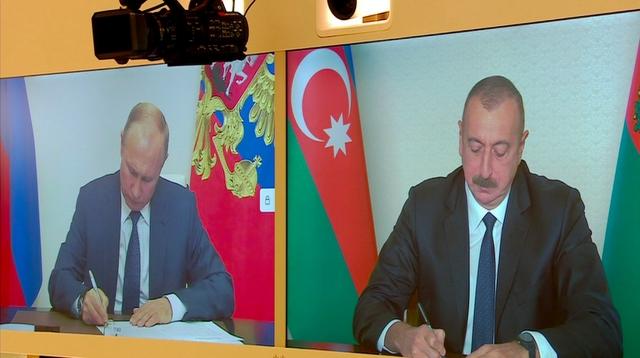 Встреча в режиме видеоконференции президента России Владимира Путина и президента Азербайджана Ильхама Алиева