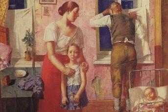 Кузьма Петров-Водкин. 1919 год. Тревога (фрагмент). 1934