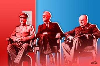 Иосиф Сталин, Франклин Рузвельт и Уинстон Черчилль в Тегеране