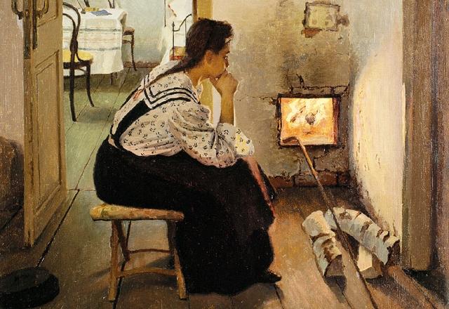 Яков Калиниченко. Думы у печки. 1897