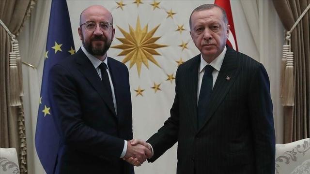 Реджеп Тайип Эрдоган с председателем Европейского совета Шарлем Мишелем