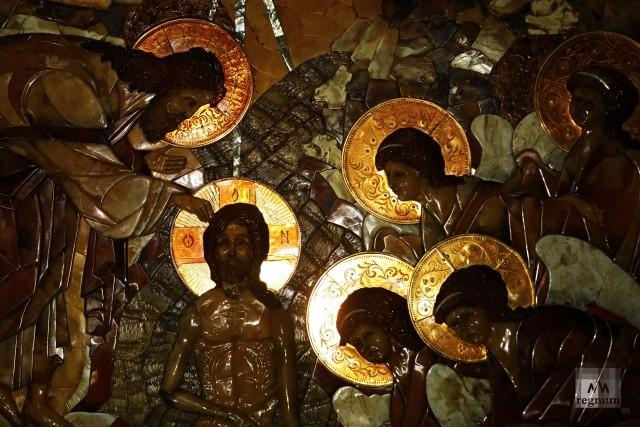 Фрагмент иконы из янтаря  Крещение
