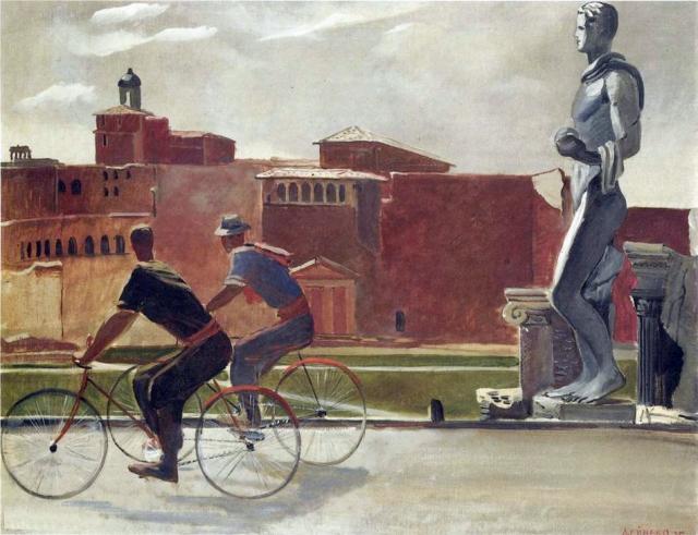 Александр Дейнека. Итальянские рабочие на велосипедах. 1935