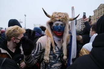 Участники митинга в поддержку Навального на Пушкинской площади в Москве, 23 января 2021 года