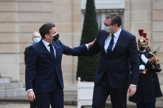 Эммануэль Макрон и Александр Вучич. 3 февраля 2021 года, Париж