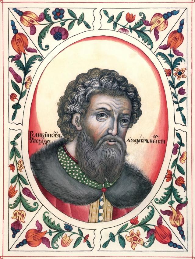 Александр Невский. Миниатюра из «Царского титулярника». 1672