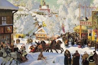 Борис Кустодиев. Масленица (Масленичное катание). 1919