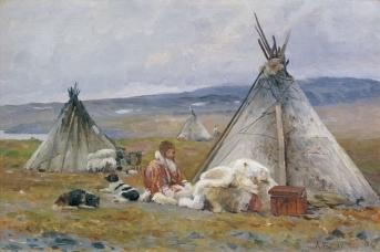 Александр Борисов. Чум ненцев в Малых Кармакулах. Новая Земля. 1896