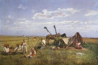 Николай Маковский. Крестьянский обед в поле. 1871