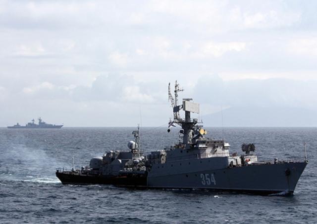 Учения кораблей ВМФ России в заливе Петра Великого